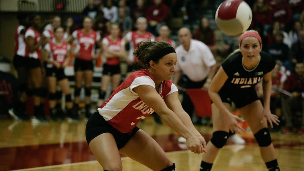 Senior defensive specialist Kyndall Merritt hits the ball during the game last Friday against Maryland. The Hoosiers played two games this weekend, defeating both Maryland and Rutgers 3-1.