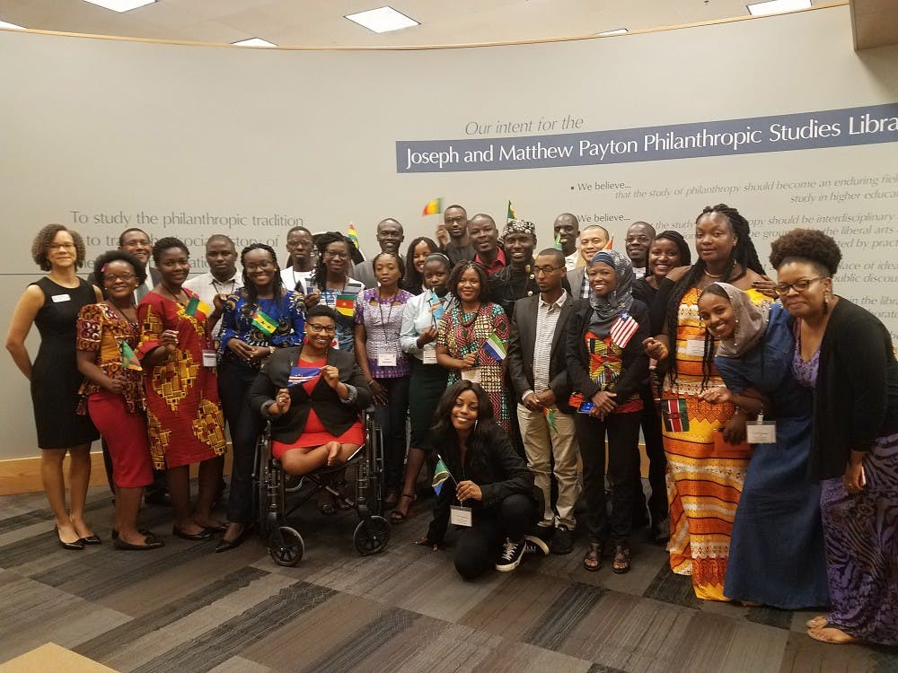 Mandela Washington Fellowship groups together for a photo at IU-Purdue University Indianapolis. The 2019 Mandela Washington Fellowship for Young African Leaders will be at IU for the fourth time.
