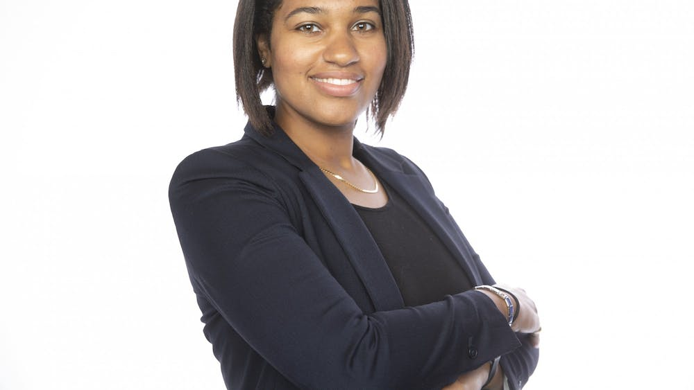 Britain Taylor, a second-year Ph.D. student in intelligent systems engineering, stands for a headshot. Taylor is a client within the Shoebox incubator.