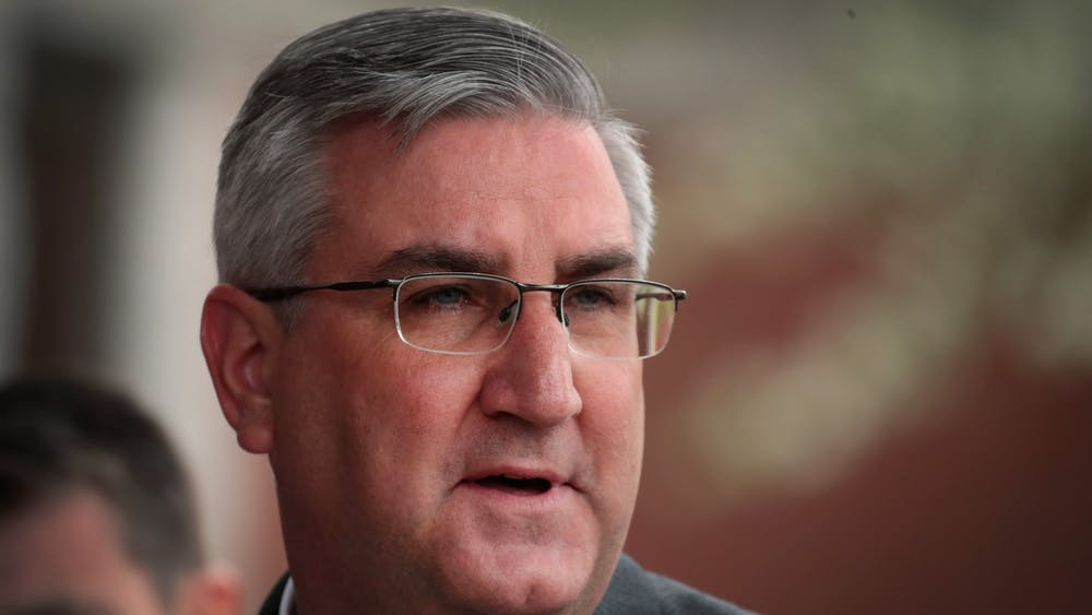 Gov. Eric Holcomb addresses the media April 19, 2017, in East Chicago, Indiana. On Friday, Holcomb announced a five-step plan to open Indiana's economy.