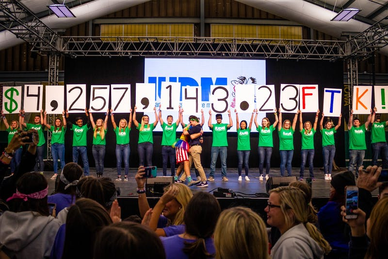 IUDM reveals the final amount of money raised by IU students by IU students for Riley Hospital for Children on Nov. 17 at the IU Tennis Center. IUDM spanned 36 hours.