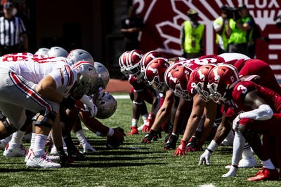 Ohio State University prepares to hike the ball Sept. 14 in Memorial Stadium. IU battled against Ohio State University and lost 51-10.