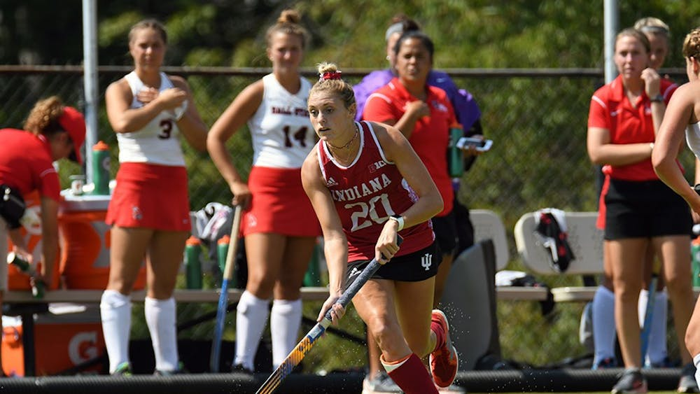Senior forward Maddie Latino drives toward the Ball State goal on Sept. 17. at the IU Field Hockey Complex. Latino scored during both of IU's weekend losses to No. 24 Iowa and Saint Louis.