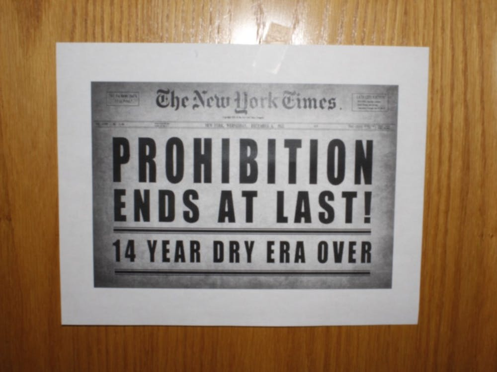 """Posters displaying the message """"Prohibition ends at last!"""" were taped to doors on the fifth floor of Harper Residence Hall at Foster Quad on Thursday, the day the social activities ban was lifted at IU's fraternities."""