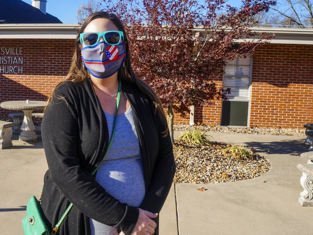 Monica Plamore, 27, stands Nov. 3 outside Ellettsville Christian Church. She said she based her voting decisions mostly off education stances since she's a school psychologist.