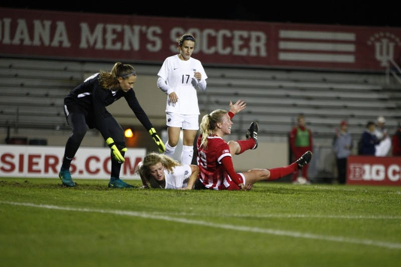 Junior Chandra Davidson argues to a referee for not calling a foul on the previous play Oct. 18 at Bill Armstrong Stadium. The women's soccer team did not make it into the Big Ten Tournament.
