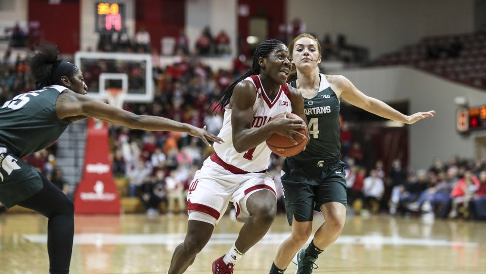 Then-freshman guard Bendu Yeaney charges the basket during the IU's game against Michigan State on Dec. 28, 2017, at Simon Skjodt Assembly Hall. Since losing 68-46 in this game, the Hoosiers have won two straight against the Spartans.