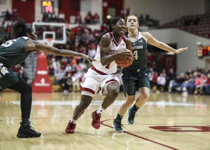 Freshman guard Bendu Yeaney charges the basket during the Hoosiers' game against the Michigan State Spartans on Dec. 28, 2017, at Simon Skjodt Assembly Hall.