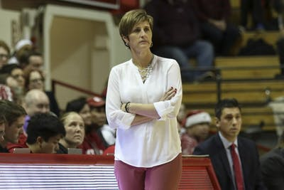 Coach Teri Moren paces the sideline of the court during a game against Butler on Dec. 5 at Simon Skjodt Assembly Hall. IU is 9-0 this season.