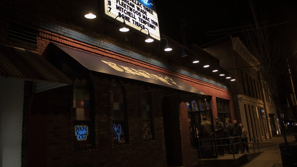 People stand outside Jan. 30 at the Bluebird. Bone Thugs-N-Harmony performed Feb. 7 at the Bluebird.