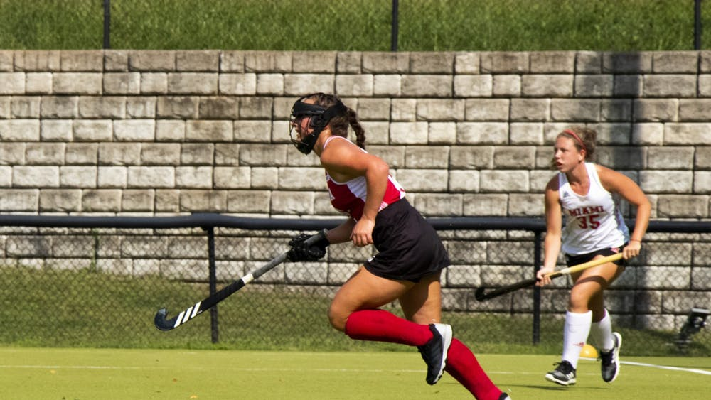 Then-sophomore midfielder Mary Kate Kesler runs downfield Sept. 7, 2020, at IU Field Hockey Complex. The Hoosiers lost their match to Michigan 1-2 on Friday, then lost to Michigan State 0-2 on Sunday.