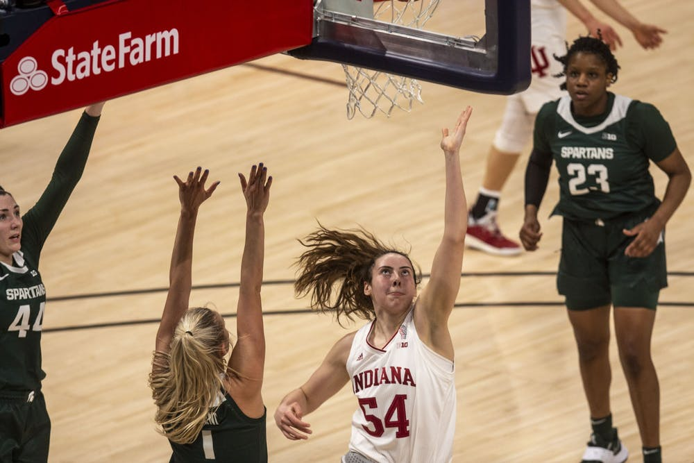 <p>Sophomore forward Mackenzie Holmes attempts a layup March 11 in the quarterfinals of the Big Ten women&#x27;s basketball tournament at Bankers Life Fieldhouse in Indianapolis. IU advanced to the Sweet 16 for the first time in program history with a 70-48 win over Belmont on Wednesday. </p>