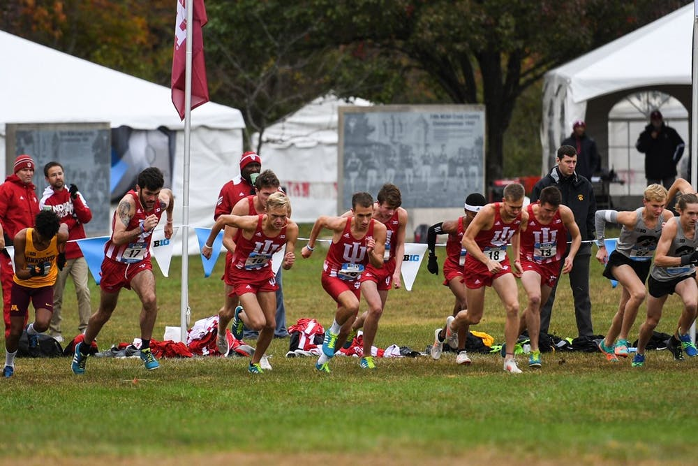 <p>IU men&#x27;s cross country runners start the race at the Big Ten Cross Country Championships on Oct. 28, 2018. IU cross country will compete in its third-straight NCAA Championships in Stillwater, Oklahoma, on Monday.</p>
