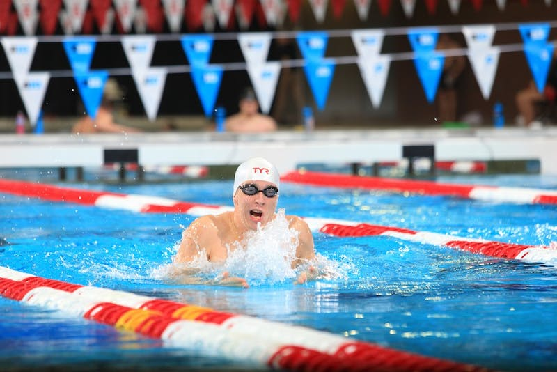 Senior Ian Finnerty of the men's swimming and diving team competes at the 2017 men's Big Ten Championships at Ohio State.