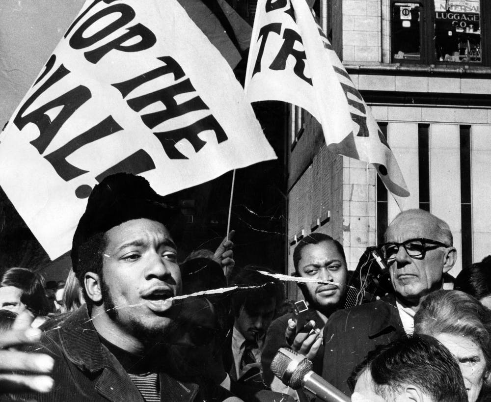 """<p>Black Panther Party deputy chairman Fred Hamptom rallies with others outside the Federal Building Oct. 29, 1969. The Rainbow Coalition was founded by Black Panther members Hamptom and Bobby Lee, along with Young Lords founder José """"Cha Cha"""" Jiménez and Young Patriots leader William """"Preacherman"""" Fesperman.</p><p><br/></p><p></p>"""