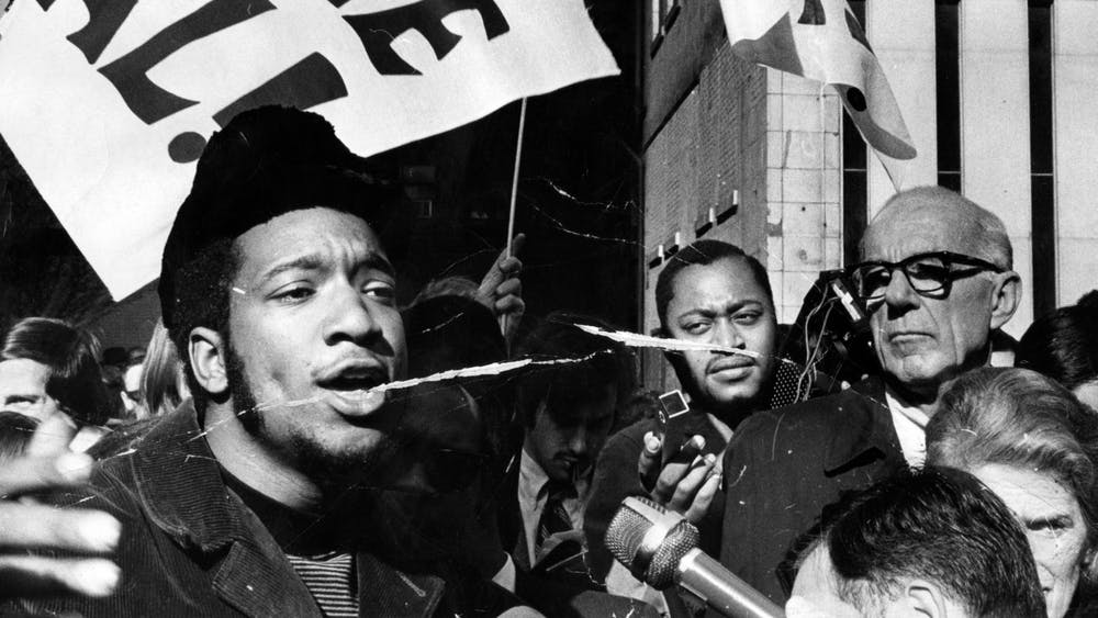 "Black Panther Party deputy chairman Fred Hamptom rallies with others outside the Federal Building Oct. 29, 1969. The Rainbow Coalition was founded by Black Panther members Hamptom and Bobby Lee, along with Young Lords founder José ""Cha Cha"" Jiménez and Young Patriots leader William ""Preacherman"" Fesperman."