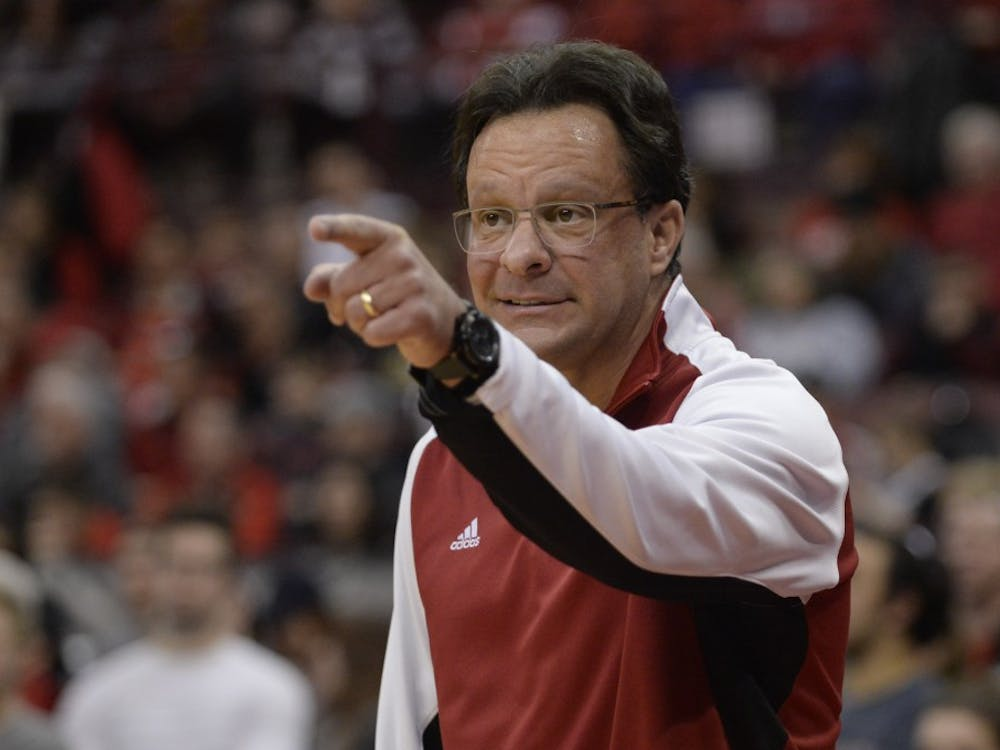 Head coach Tom Crean calls out a play to his players during IU's game against Ohio State on Sunday at Value City Arena at the Jerome Schottenstein Center.