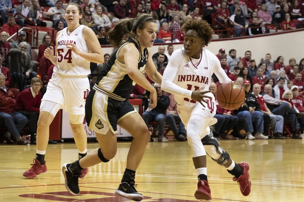 <p>Then-freshman Chanel Wilson dribbles toward the basket Jan. 9, 2020, at Simon Skjodt Assembly Hall. The Hoosiers take on the Boilermakers Jan. 14 at Mackey Arena in West Lafayette, Indiana. </p>