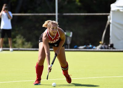Senior defender Elle Hempt surveys the field against Miami (Ohio) on Sept. 23 at the IU Field Hockey Complex. IU finished its regular season schedule with a 4-0 loss Friday at Penn State.