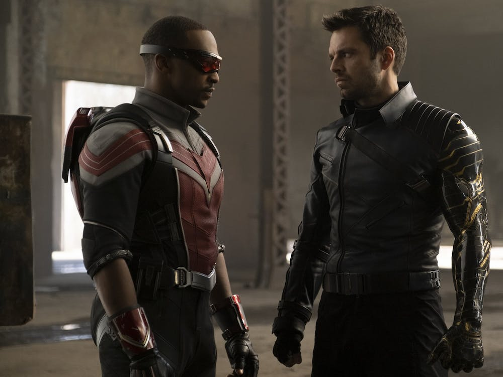 """Anthony Mackie, as Sam Wilson, and Sebastian Stan, as James """"Bucky"""" Barnes, perform in Marvel's """"The Falcon and the Winter Soldier."""" The television miniseries is available on Disney+."""