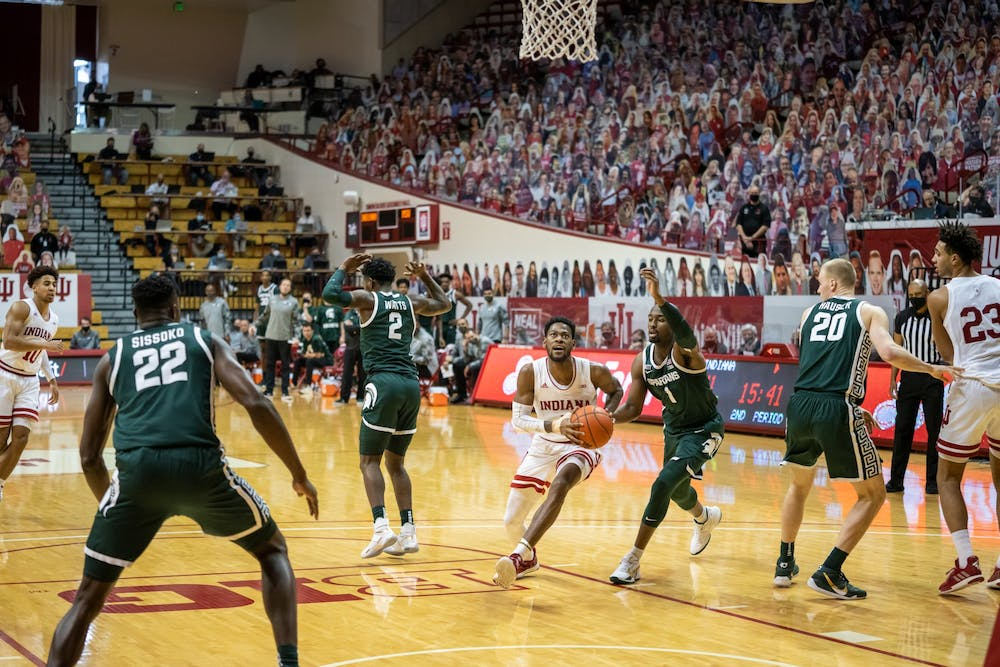 <p>Al Durham drives to the basket in a game against Michigan State on Feb. 20 at Simon Skjodt Assembly Hall. Hoosiers play Michigan State on Tuesday at 8 p.m.</p>