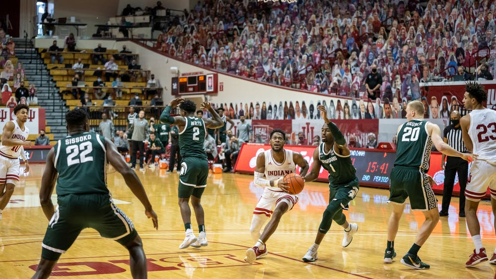Al Durham drives to the basket in a game against Michigan State on Feb. 20 at Simon Skjodt Assembly Hall. Hoosiers play Michigan State on Tuesday at 8 p.m.