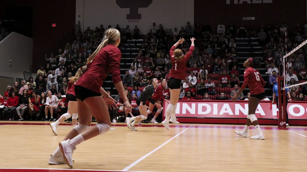 IU senior Victoria Brisack sets the ball against Purdue on Oct. 9 at Wilkinson Hall. IU plays No. 8 Penn State Wednesday night.