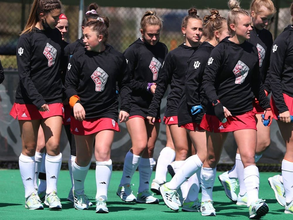 The field hockey team walks on the field before the match against Michigan on Saturday in Ann Arbor, Michigan. The Hoosiers won against Michigan State 3-2 on Thursday and lost to Michigan 3-0 on Saturday.