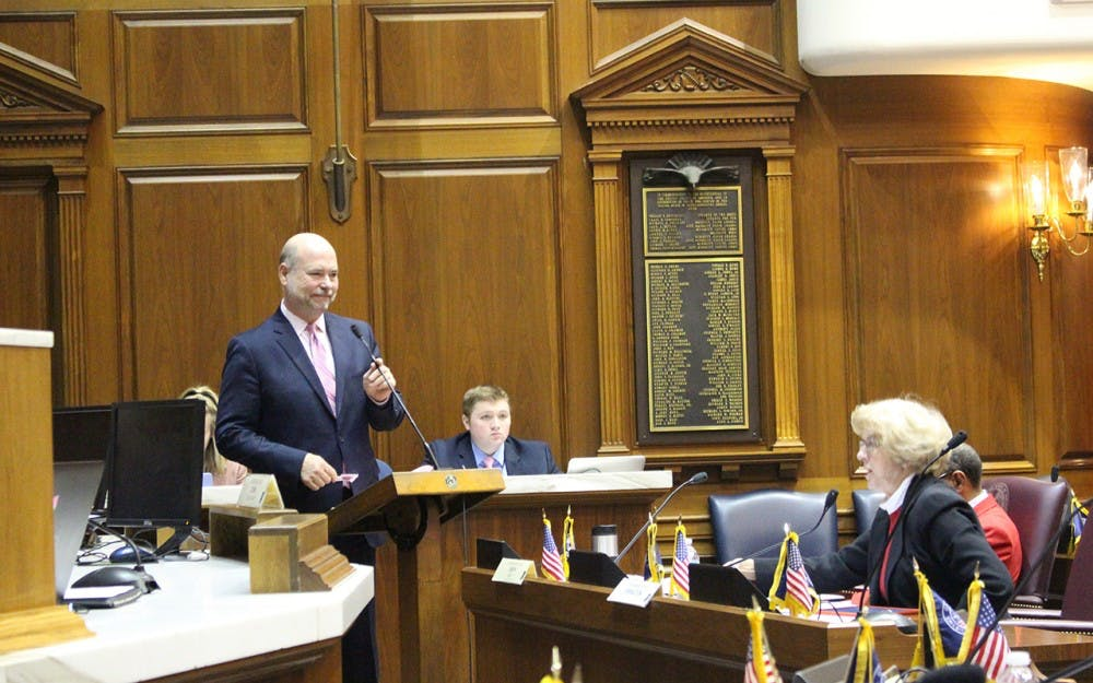 House Speaker Brian Bosma testifies for his bill, House Bill 1005, which would make the Indiana school chief position appointed rather than elected. The House education committee passed the bill Tuesday.