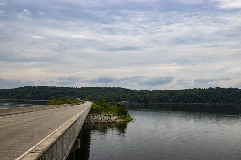 <p>Indiana State Road 446 crosses Lake Monroe. IU football players, including defensive back Bryant Fitzgerald, were involved in an incident Wednesday on the lake in which they felt they were racially profiled.</p>