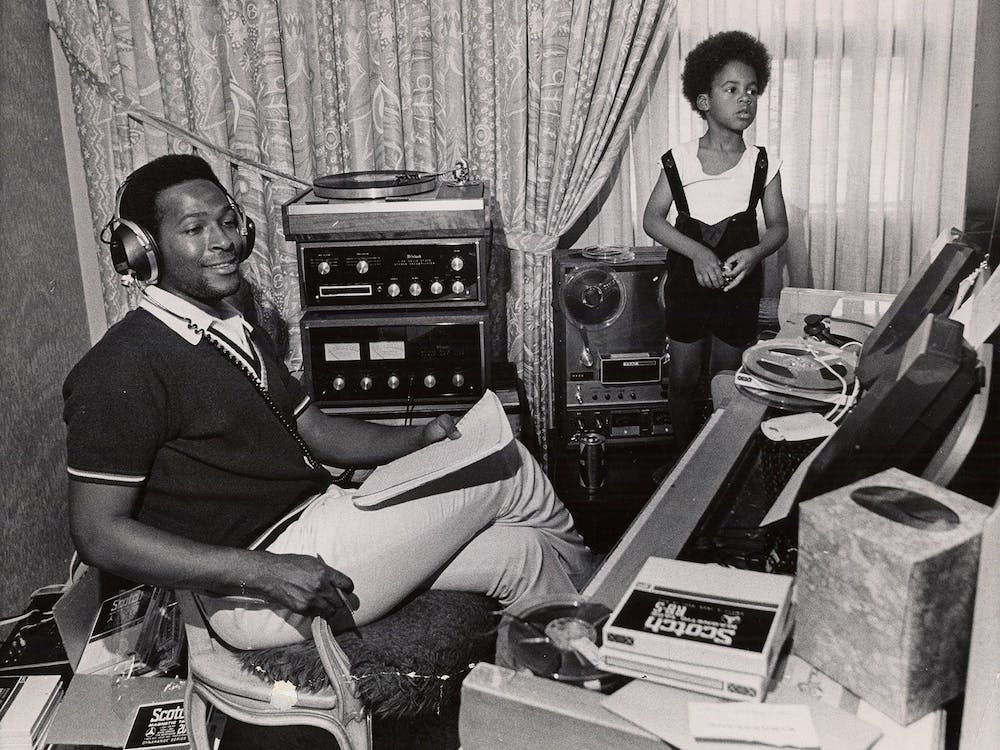 Marvin Gaye sits at home with his son Marvin Gaye III.