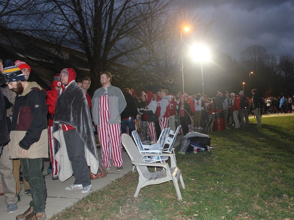 Students line up extra early for the IU Basketball game against North Carolina Wednesday evening.