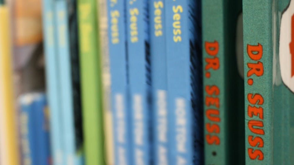 Some Dr. Seuss books sit on a shelf Monday at the Monroe County Public Library. Six of the author's books were pulled from further publication on March 2 for using racist depictions of Black and Asian people.