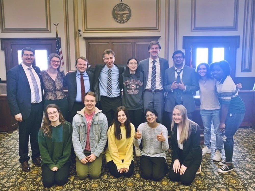 The Mock Trial at IU members pose for a photo March 8 in the Hamilton County Courthouse in Cincinnati, Ohio. The team was competing at the Opening Round Championship Series, their last tournament before the COVID-19 pandemic canceled the season.