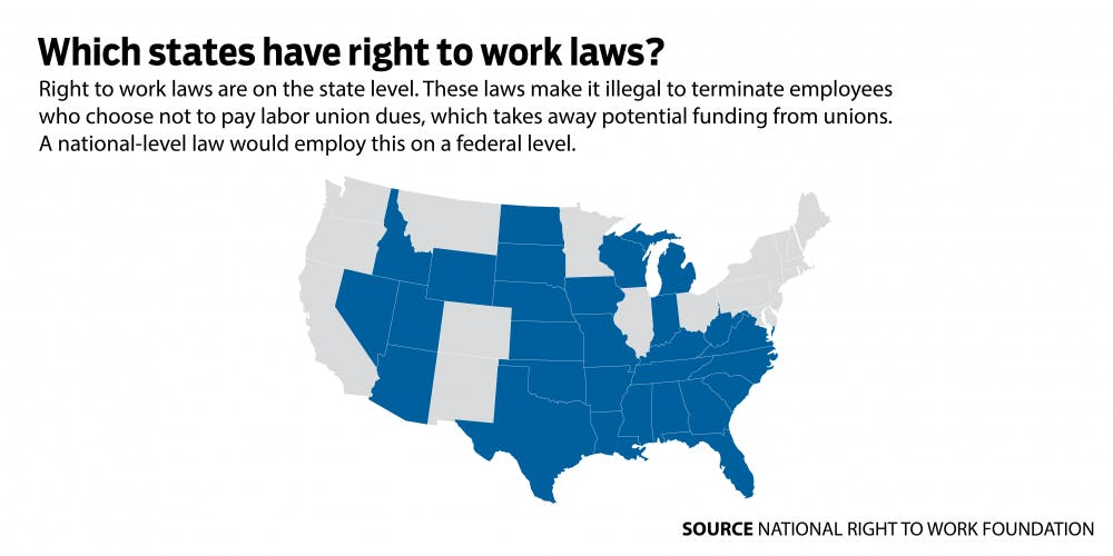 Right To Work States Vs Union States Map.Hollingsworth Announces Support For National Right To Work Act