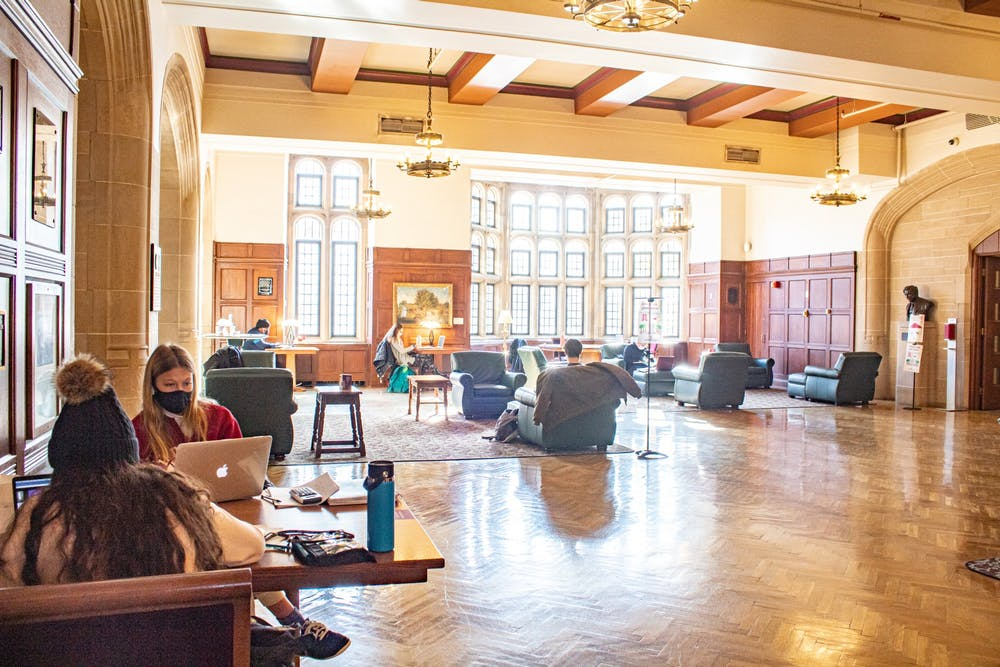 <p>Students study in the Indiana Memorial Union on Dec. 1, 2020.  IU has three wellness days this semester instead of spring break. </p>