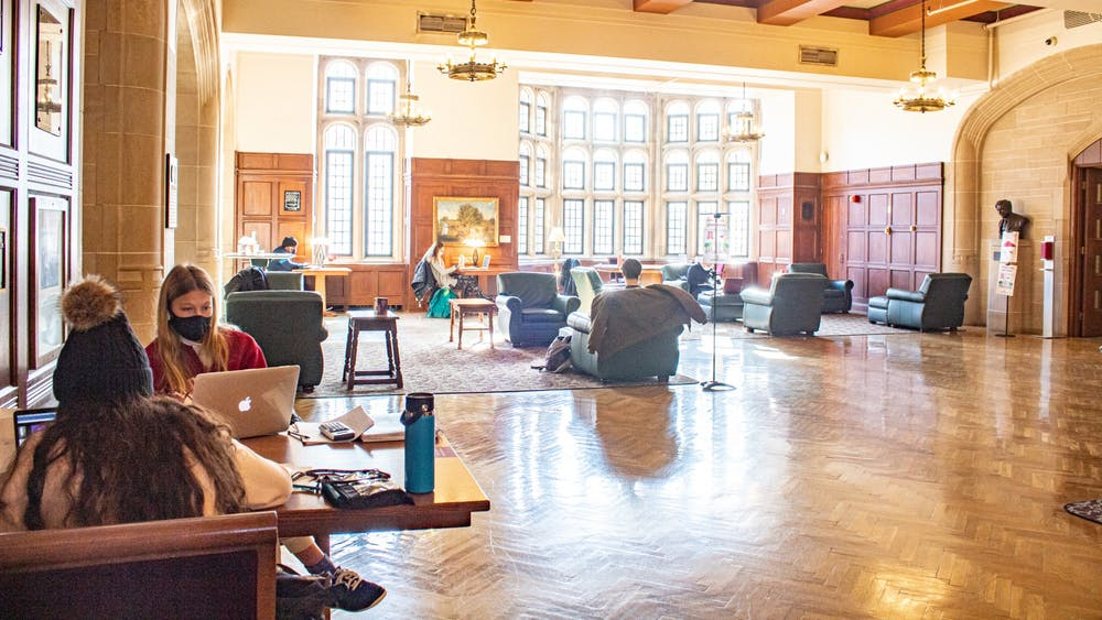 Students study in the Indiana Memorial Union on Dec. 1, 2020.  IU has three wellness days this semester instead of spring break.
