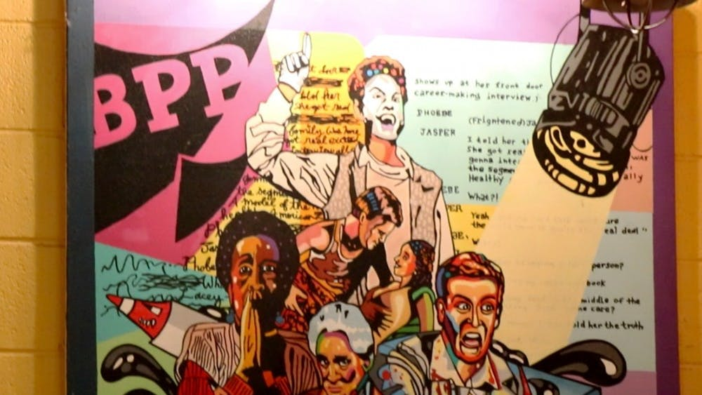 A mural hangs in the lobby of Bloomington Playwrights Project. The building is located at 107 W. Ninth St.