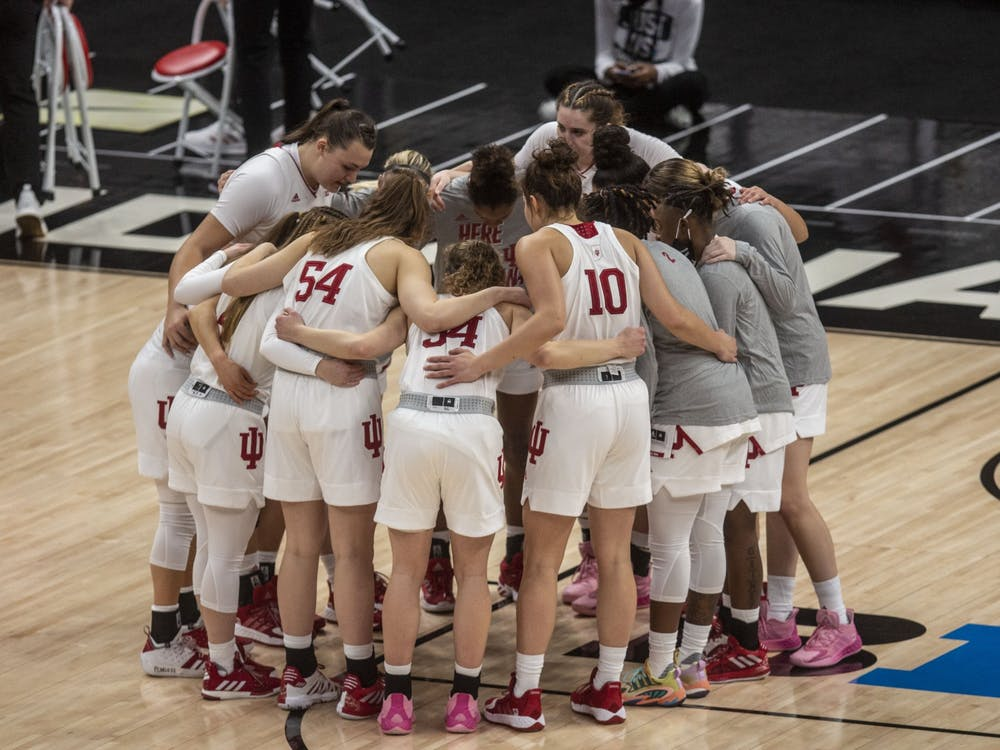 The IU women's basketball team huddles before the start of the game March 11 in the quarterfinals of the Big Ten women's basketball tournament at Bankers Life Fieldhouse in Indianapolis. No. 2 seed IU lost 61-69 to No. 7 seed Michigan State.