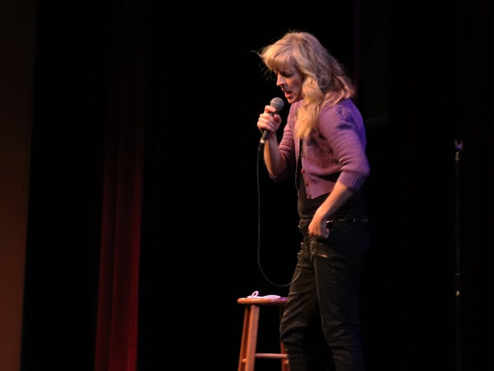 Maria Bamford performs at the Buskirk-Chumley Theater on May 30. Bamford was Thursday's headliner for the 7th annual Limestone Comedy Festival.