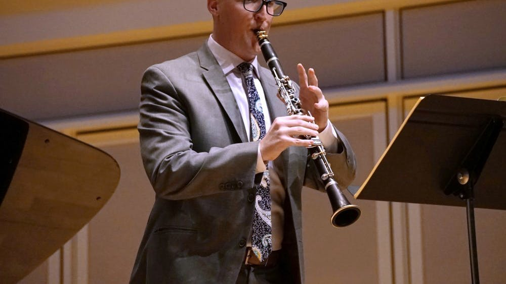 Graduate student Erik Franklin performs several clarinet pieces accompanied by pianist Hui-Chuan Chen for his graduate recital Jan. 8 in Auer Hall. Franklin performed pieces such as Sonata in E-Flat Major, Op. 120 No. 2 by Johannes Brahms and Fantasy by Joan Tower.