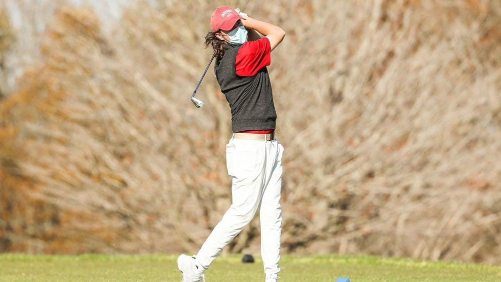 Freshman Clay Merchant swings a golf club during the Mobile Bay Intercollegiate on Feb. 15. IU men's golf competes in the Spartan Collegiate on Monday in St. Simons Island, Georgia.