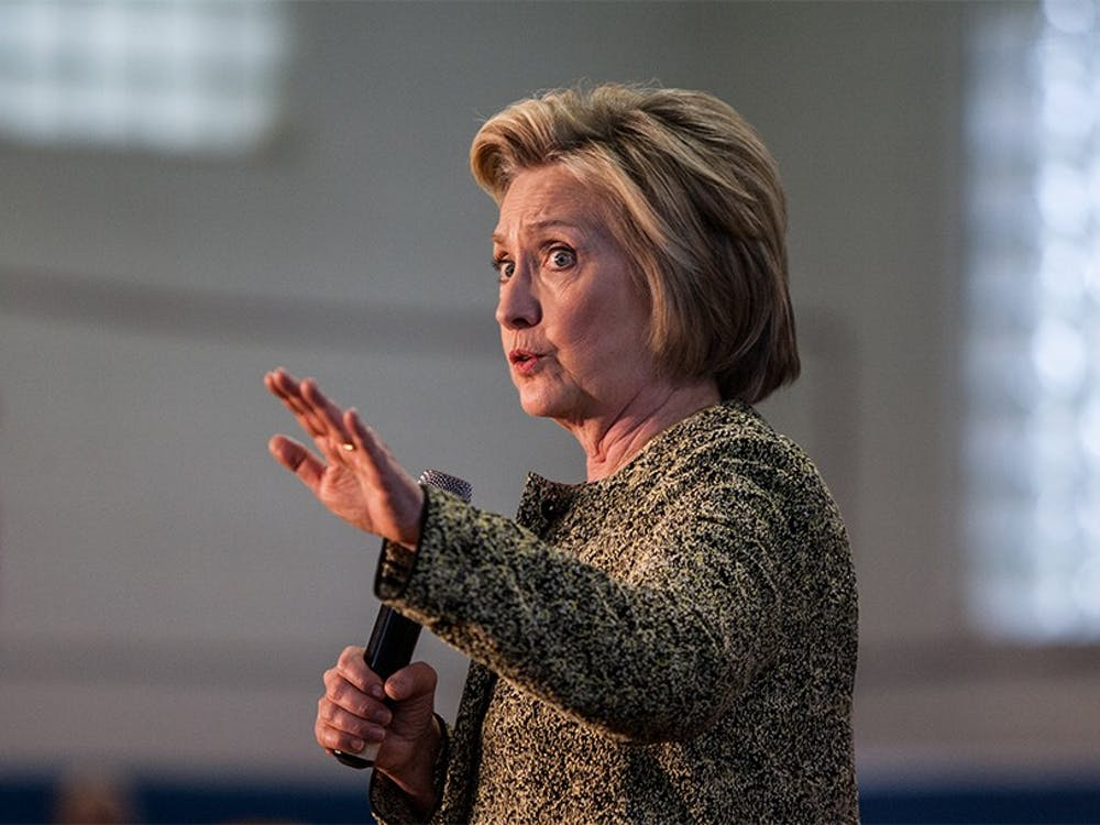 Presidential candidate Hillary Clinton speaks at the Douglass Park Gymnasium in Indianapolis on Sunday ahead of the May 3 Primary Elections in Indiana. Clinton spoke about a slew of topics including healthcare, foreign policy and drug addiction.