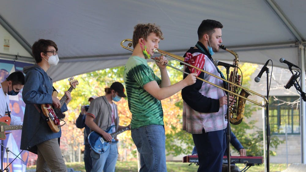 Musicians perform Oct. 31 in Dunn Meadow. Student United Way partnered with Bloomington Delta Music Club to host a benefit concert.