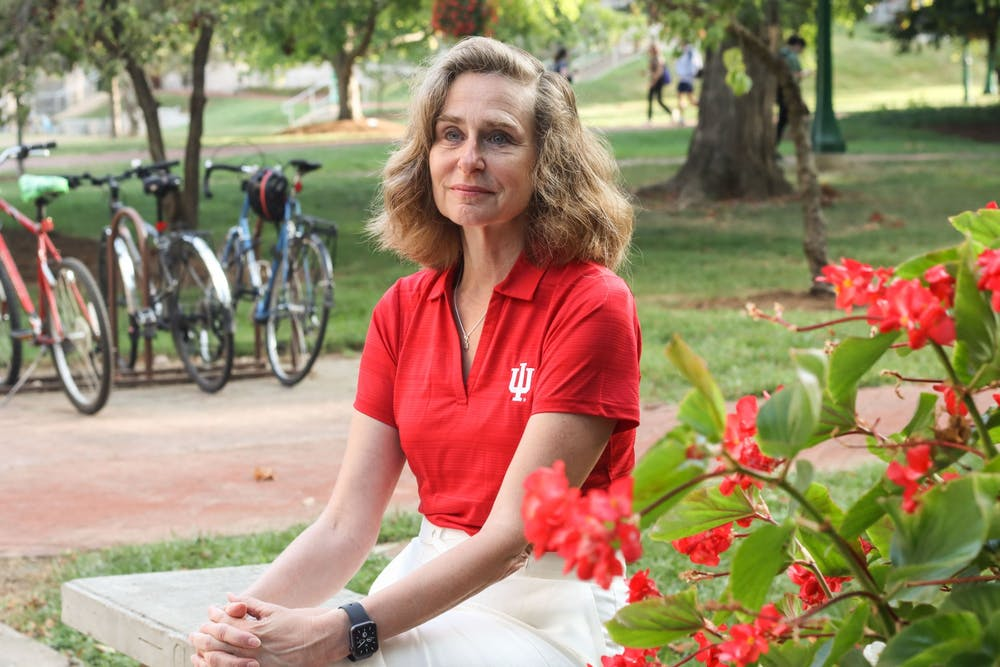 <p>IU President Pamela Whitten sits Aug. 27, 2021, outside of Bryan Hall. Whitten said that connecting with students is one of her main priorities as president. </p>