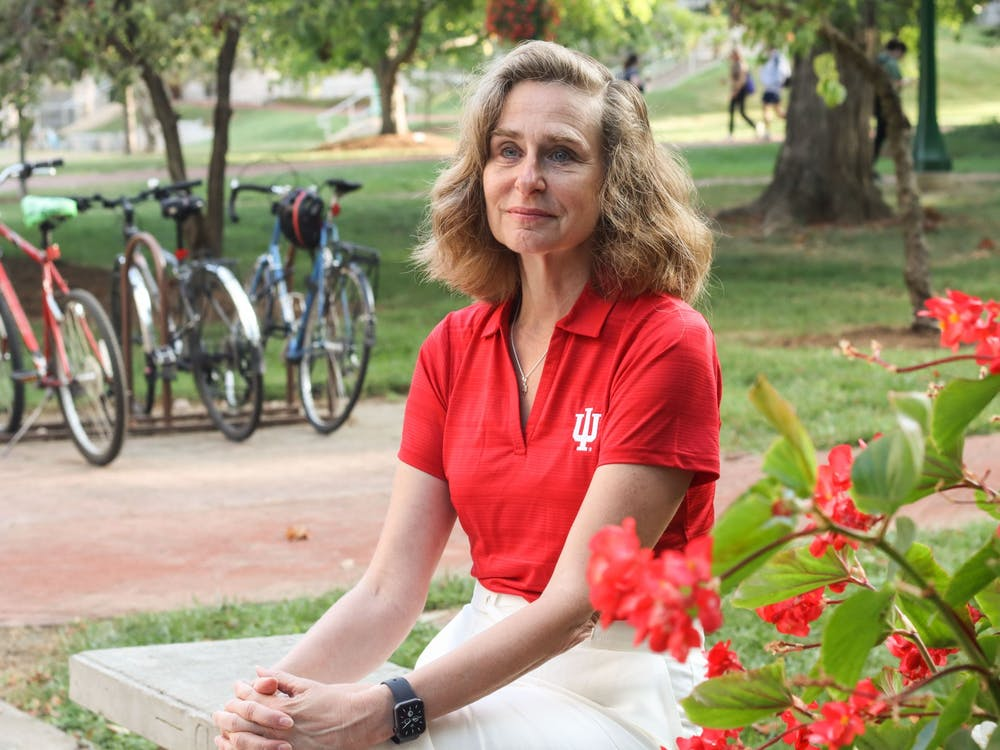 IU President Pamela Whitten sits Aug. 27, 2021, outside of Bryan Hall. Whitten said that connecting with students is one of her main priorities as president.