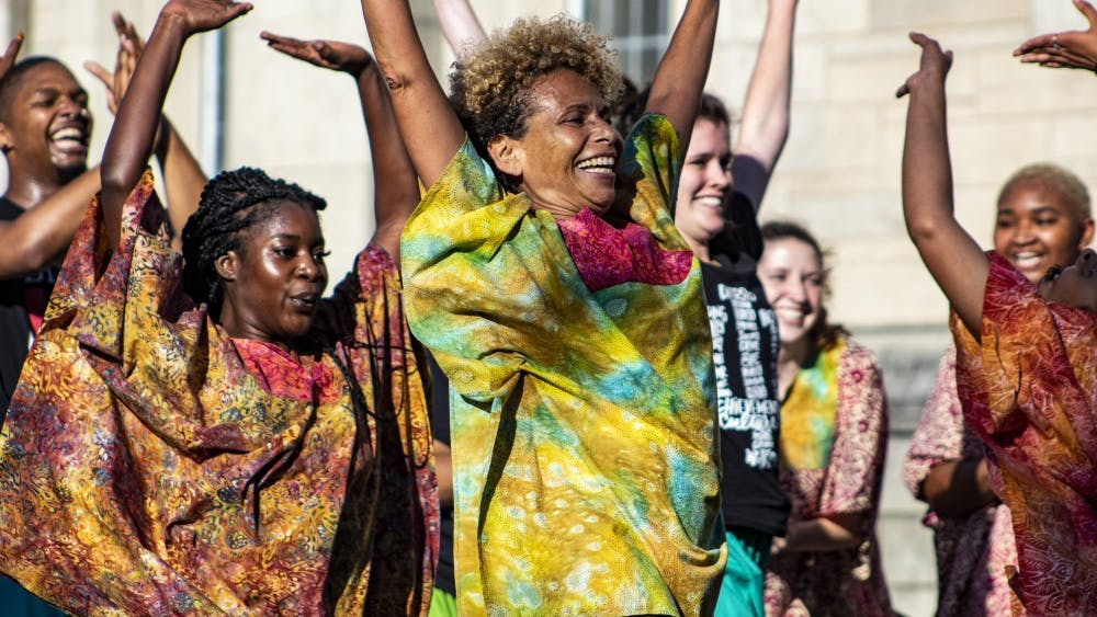 Members of the IU African American Dance Ensemble perform Oct. 3 at the October First Thursdays Festival near Showalter Fountain. The festival featured food trucks, poetry and a film viewing.