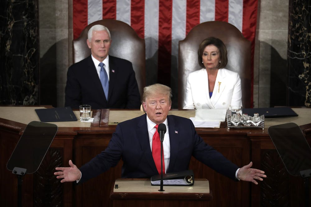 <p>President Donald Trump delivers the State of the Union Address to a joint session of the U.S. Congress Feb. 4 on Capitol Hill in Washington, D.C. </p>