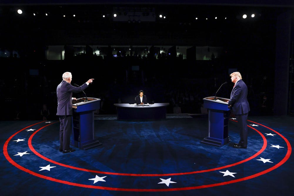 <p>President Donald Trump and Democratic presidential nominee Joe Biden participate in the final presidential debate Thursday night at Belmont University in Nashville, Tennessee.</p>