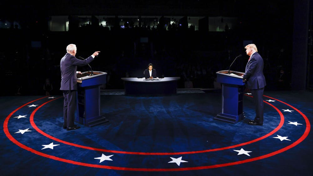 President Donald Trump and Democratic presidential nominee Joe Biden participate in the final presidential debate Thursday night at Belmont University in Nashville, Tennessee.